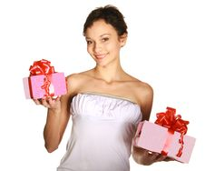 Free Smiling Woman Holding Gift Stock Photo - 22548840