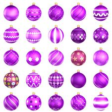 Free Christmas Baubles Violet Pack On White Background Royalty Free Stock Photo - 22549495