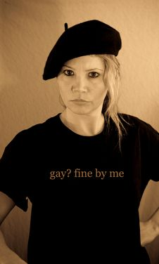 Posing In Gay Fine By Me Shirt Stock Images