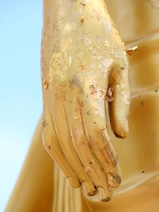 Golden Hand Of The Buddha Statue Royalty Free Stock Photo