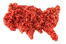Free Raw Minced Meat In The Shape Of U.S.A On White Royalty Free Stock Photography - 22551577