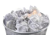 Free Waste Bin With Light Bulbs Stock Image - 22551981