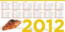 Free Croissant 2012 Calendar Royalty Free Stock Photos - 22553488