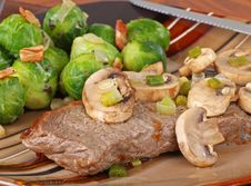 Steak And Mushrooms Stock Photo