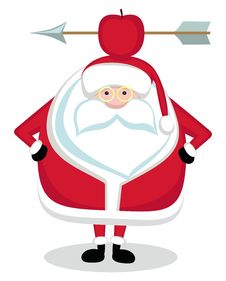 Free Santa With Red Apple And Arrow Royalty Free Stock Photo - 22554235