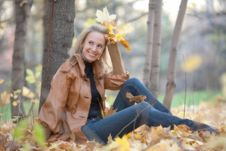 Free Girl On A Walk In The Autumn Park Stock Photo - 22554760