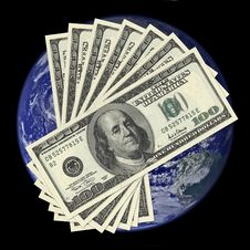 Free One Hundred Dollar Bills On Earth Background Royalty Free Stock Photography - 22554837