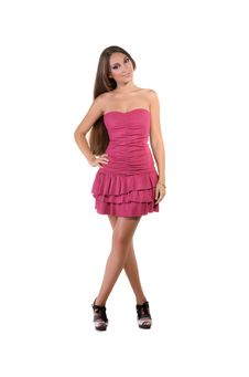 Free Beautiful Brunette Girl In Pink Dress Stock Image - 22558741