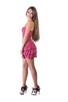 Free Beautiful Brunette Girl In Pink Dress Royalty Free Stock Photography - 22558747