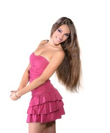 Free Beautiful Brunette Girl In Pink Dress Royalty Free Stock Image - 22558756