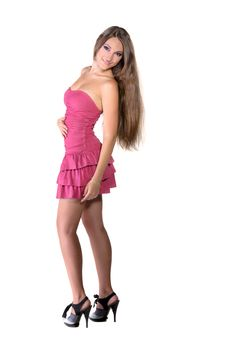 Free Beautiful Brunette Girl In Pink Dress Stock Image - 22558761