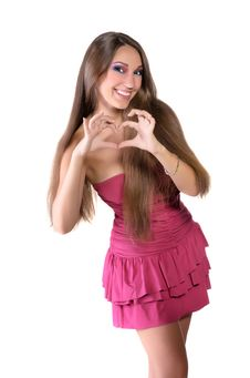 Free Girl In Pink Dress, Shows The Heart Stock Photography - 22558772
