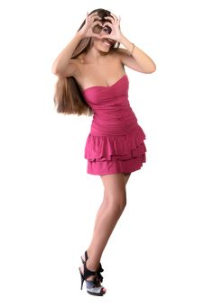 Free Girl In Pink Dress, Shows The Heart Royalty Free Stock Photo - 22558775