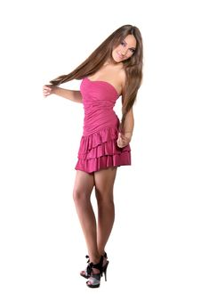 Free Beautiful Brunette Girl In Pink Dress Stock Photos - 22558783