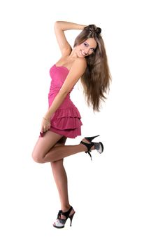 Free Beautiful Brunette Girl In Pink Dress Royalty Free Stock Image - 22558786