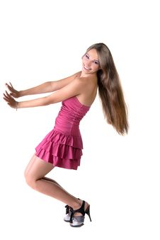 Free Beautiful Brunette Girl In Pink Dress Royalty Free Stock Photography - 22558787