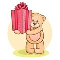 Free Teddy Gives Present Stock Photos - 22563283