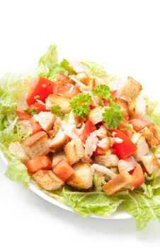 Free Caesar Salad With Salmon Royalty Free Stock Photos - 22563138