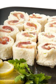 Smoked Salmon Rolls On White Background Stock Photography