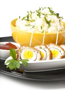 Free Meatballs With Quail Eggs And Potatoes Stock Photos - 22563403