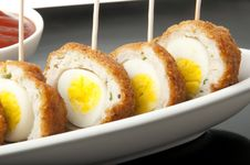Free Meatballs With Quail Eggs And Potatoes Royalty Free Stock Photo - 22563425
