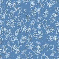 Free Floral Seamless Pattern In Blue Tones Stock Photography - 22568802