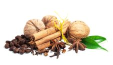 Free Cinnamon, Anise,  Walnuts And Cloves Stock Photography - 22570362