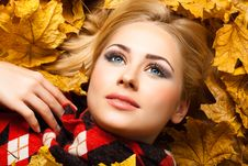 Free The Beautiful Blonde Lies In Autumn Foliage Stock Photos - 22572263