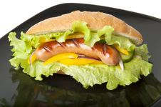 Free Sandwich With Sausage Royalty Free Stock Photography - 22574957