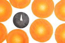 Free Drawing Pin Among Carrot Slices Stock Photography - 22577102