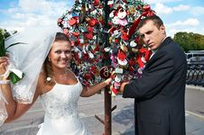 Free Happy Bride And Groom About Padlocks Tree Stock Photos - 22578603
