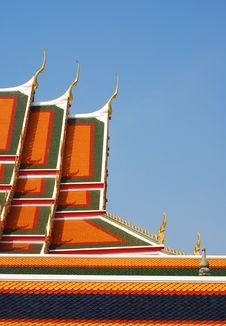 Unique Rooftop Of Thailand Temple Wat Pho Stock Photo
