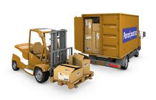 Free Loader And A Minivan Carrying A Parcel Stock Images - 22586664