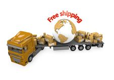 Free Truck Transportation Parcels And The Planet Earth Stock Images - 22586804