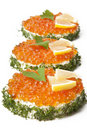 Free Sandwiches With Red Caviar Royalty Free Stock Images - 22596509