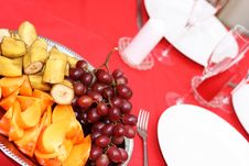 Free Table With Plates And Fruits Stock Image - 22592961