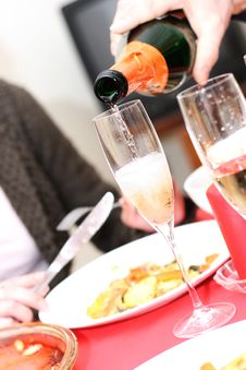 Free Pouring Champagne Into A Glass Stock Photos - 22592993