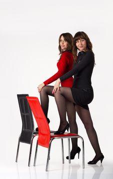 Free Sisters Twins Posing In Studio Stock Photos - 22593283