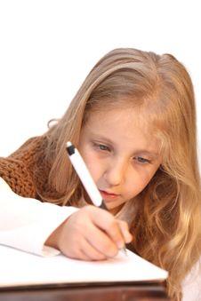 Free Girl Writes Stock Photos - 22593413