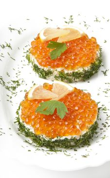 Free Sandwiches With Red Caviar Stock Image - 22596501