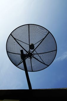 Satellite Dish In Blue Sky Stock Image