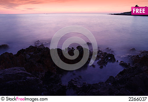 Free Long Exposure Evening Sea Shot Royalty Free Stock Photography - 2266037
