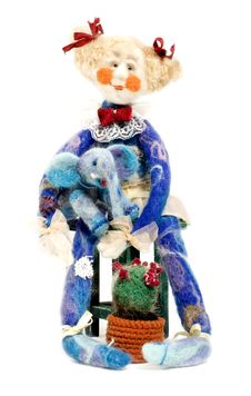 Doll With Elephant (craft) Royalty Free Stock Photos
