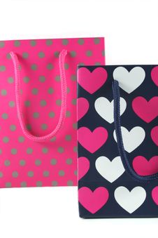 Hearts And Spots Gift Bags Stock Photos