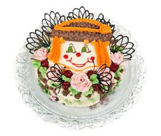 Cake With A Pattern In The Form Of Faces Clown Stock Photography
