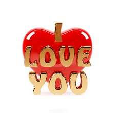 Free I Love You Text And Red Heart Stock Images - 22605934