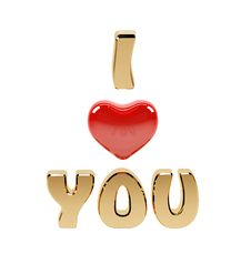 Free I Love You Text And Red Heart Royalty Free Stock Images - 22605939