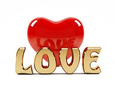 Free 3D Love Text And Red Heart Stock Images - 22605944