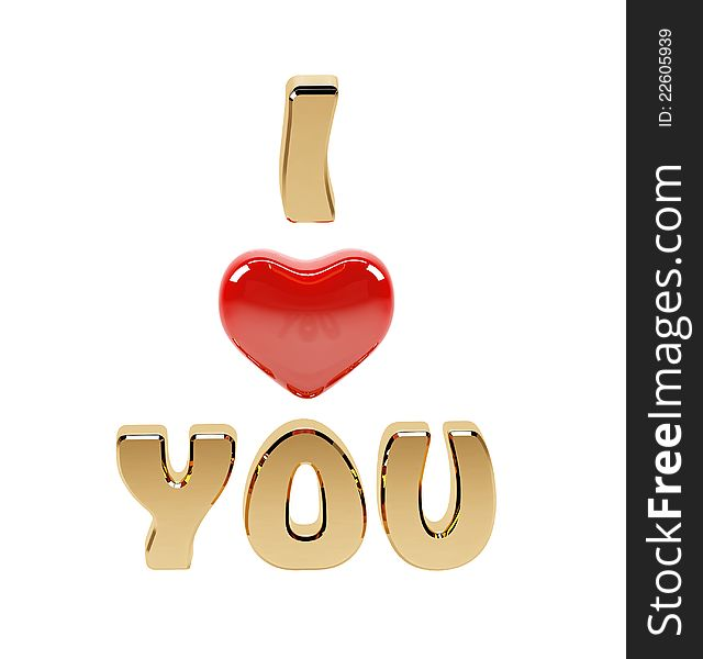 I Love you text and red heart