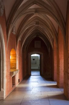 Gothic Hallway In Castle Royalty Free Stock Photography